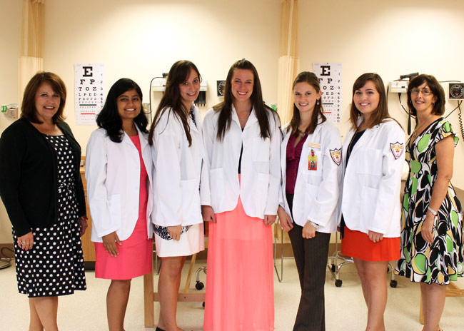 Shown, from left, is Jean Denion, PA-C, clinical professor in Physician Assistant Studies Program and academic coordinator; scholarship recipients Kesha Patel, Adele Habbaz, Kelly Klaproth, Samantha Shelton, and Candace Fegley; and Diana Easton, MPAS, PA-C, associate clinical professor, clinical director, and director of the Physician Assistant Studies Program.