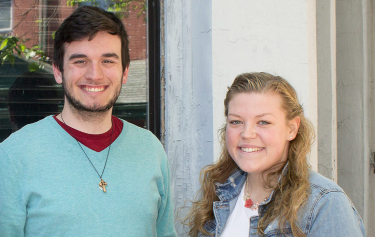 King's College full-tuition Irish-American scholarship recipients James McDonough and Hannah Bruseo