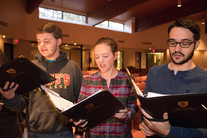 King's College choir Cantores Christi Regis will perform a free Spring Concert on April 27 and April 28 in the J. Carroll McCormick Campus Ministry Center. Choir members, pictured from left, are: Jordan Wood, Casey Cryan and Sean Maloney.
