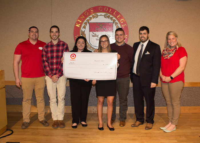 Pictured are Target Store Team Leaders David Cipriani (far left) and Jocelyn Hinkley (far right) and members of the first place team, from left, Giacomo Dinicola, Erika Martyn, Jenna Trentalange, Coby Thomas, and Joshua Kepfinger.
